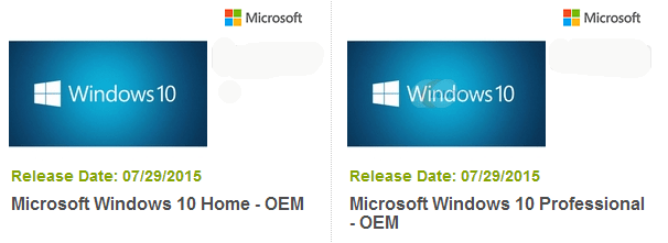 different editions of Windows 10